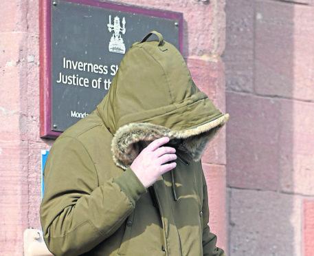 Matthew Varley leaves Inverness Sheriff Court yesterday morning.