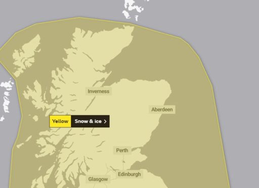 The area covered by the most recent weather warning.