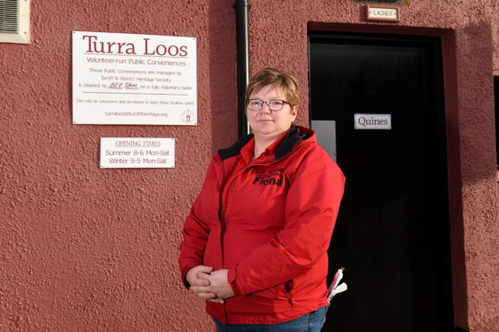 Let it Shine owner Fiona Smith outside the Turriff toilets.