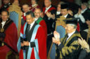 The Sultan of Brunei, receives an Honorary Doctor of Law degree at an Aberdeen University graduation ceremony in 1995.