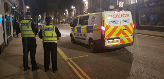 Police on patrol on Forres High Street.