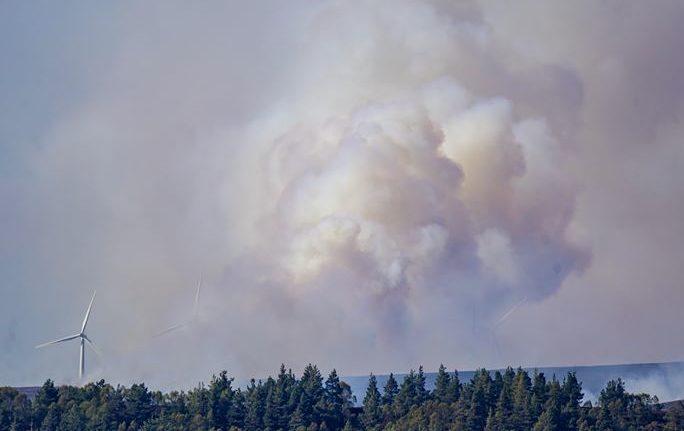 Fire crews battle through the night as major wildfire threatens Moray wind