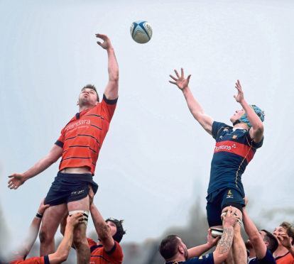 Rugby: Aberdeen Grammar (red) v Dundee HSFPs (blue) at Rubislaw Park, Aberdeen. Pictures by Heather Fowlie.