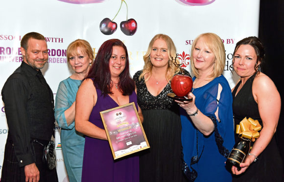 Previous winners of the Terrific Team of the Year.  Pictured - Chrysaor E&P Services, L-R Mark Reid, Maggie Braid, Claire Grainger, Kathryn Hetherington, Corinne Kelt and Lynsey Macalister.        Picture by Kami Thomson