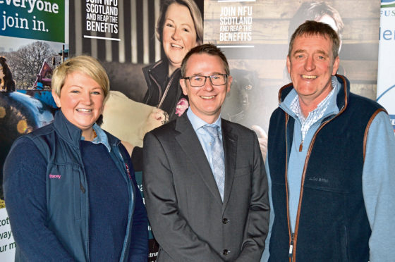 Tracey Roan of Roan's Dairies, NFU Scotland chief executive Scott Walker, and James Logan of Athelstaneford Farm.