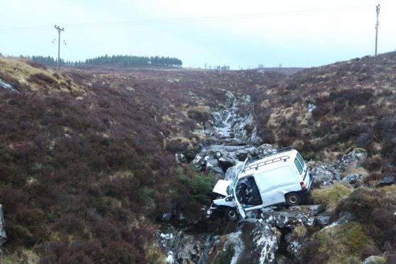 The scene on the A835 yesterday.
