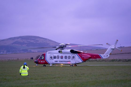 This is the scene of the Rescue of a climber who fell in the presence of his son on the cliffs West of Portsoy, Aberdeenshire. The male, aged 55 would have sustained a broken leg and was conveyed to Hospital, by Coastgurad Helicopter. It is though was taken to Raigmore, Inverness. Photographed by JASPERIMAGE ©.