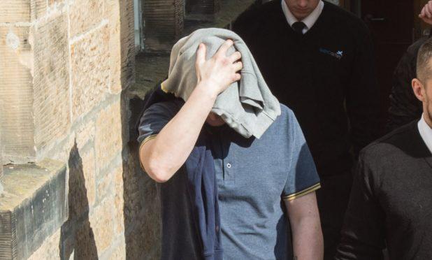 Carl Cowie leaving Elgin Sheriff Court.