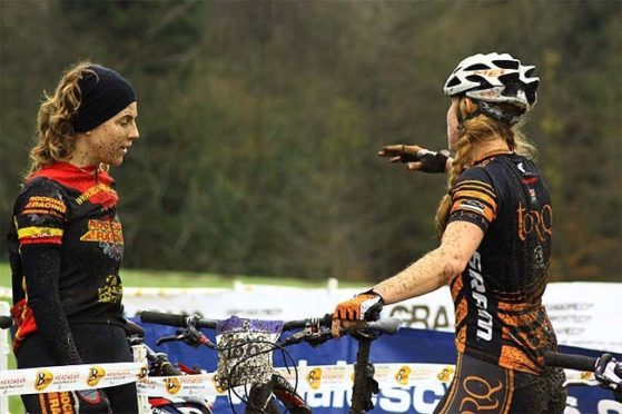 Kim (left) and Lee Craigie back in the days when they were both regulars on the competitive mountain biking circuit.
