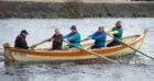 Nairn Coastal Rowing Club The Dulcie heads out to sea L to R  Cox   Bob Gordon Bob Ferenth Greg Sparrow Ian Bochel Cath Biggar  Pic Trevor Martin