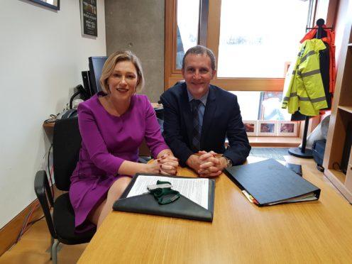 MSP Gillian Martin with transport secretary Michael Matheson.