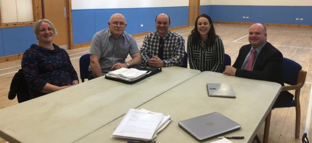 Kathryn MacRae, Pete Jones, Dr Willem Nel, Kate Forbes and Iain Stewart met in Glenelg as part of the NHS Highland chief executives visit to the village to hear of the challenges faced in the local community relating to health and social care