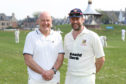 Dave Gibson, brother of Neil and Alan Gibson, with Dave Wolton vice-chair of Nairn County Cricket Club.