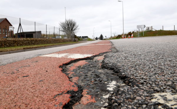The A975 Foveran to Newburgh road remains badly damaged by bypass traffic.