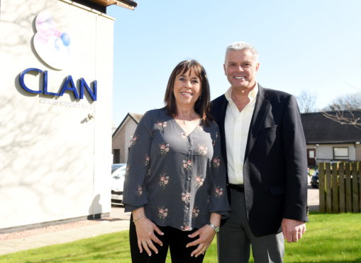 Aberdeen FC vice-chairman Dave Cormack and wife Fiona at Clan House yesterday.