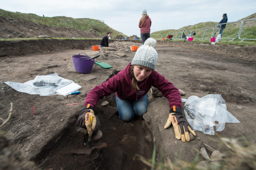 Archaeological dig at north-east Pictish fort unearths huge section of wall still standing after 1,000 years