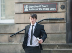 Hamish Couttie leaving Elgin Sheriff Court.