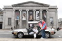 """To promote the upcoming showing of the movie """"Back to the Future"""" accompanied by a live orchestra at the Music Hall, Aberdeen. Marty McFly (Graham Watt) and Doc Brown (Donna Henderson) came to town with their DeLorean.          Picture by Kami Thomson    04/04/2019"""