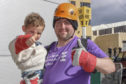 Dexon with Darren at the fundraising abseil