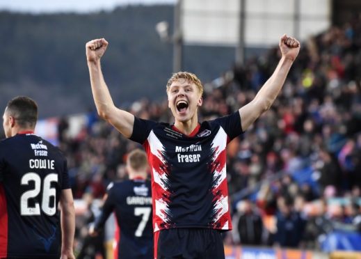 23/03/19 IRN-BRU CUP FINAL CONNAH'S QUAY NOMADS v ROSS COUNTY TULLOCH CALEDONIAN STADIUM - INVERNESS Ross County's Jamie Lindsay celebrates his goal