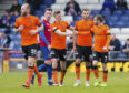 20/04/19 LADBROKES CHAMPIONSHIP INVERNESS CT v DUNDEE UTD TULLOCH CALEDONIAN STADIUM - INVERNESS Dundee United's Pavol Safranko celebrates his goal with his teammates