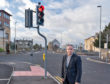 Richard Lochhead at the traffic light  junction of South Street and A941 Northfield Terrace, Elgin, Moray, Scotland.