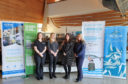 Gemma Pearce of Ocean Kinetics, Sheila Keith of So Much to Sea, Melanie Henderson of Lerwick Port Authority and Jane Leask of Serco NorthLink after all four organisations were announced as the main sponsors of Shetland Boat Week 2019