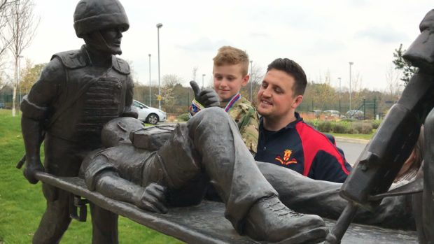 Logan Beck with dad, Gary, at Help For Heroes Recovery Centre.