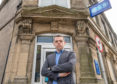 This is MP for Moray, Douglas Ross at the TSB in Mid Street, Keith, Moray, Scotland which is due to close. Photographed by JASPERIMAGE ©