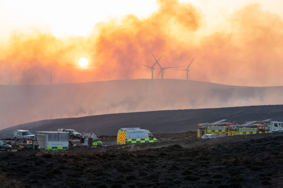 The scene of the wild fire within Ballindalloch Estate and within Pauls Hill Wind Farm, Moray.
