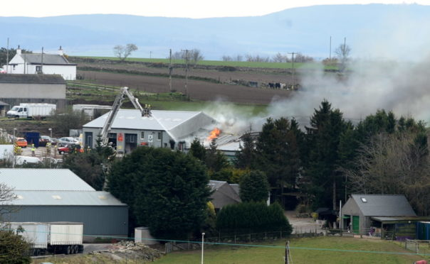The fire at a warehouse building at Smiddy Brae, Skene Road, A947 near Westhill.