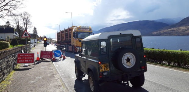 Road works on the A82 to the south of Fort William are lengthening journey times in the town.
