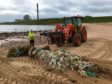 A hefty trail of nets and marine litter pulled from Sandford Bay - picture by Crawford Paris of the Turning the Plastic Tide project