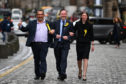 The newly elected SNP European Parliament MEPs Christain Allard, Alyn Smith, and Aileen McLeod.