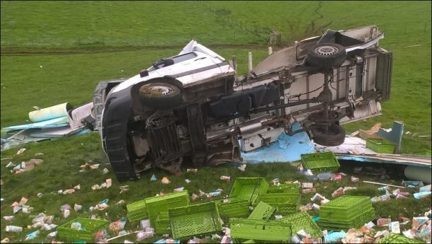 Picture of the overturned van.