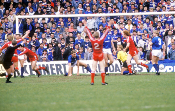 Brian Irvine celebrates his goal against Rangers at Pittodrie in 1987.