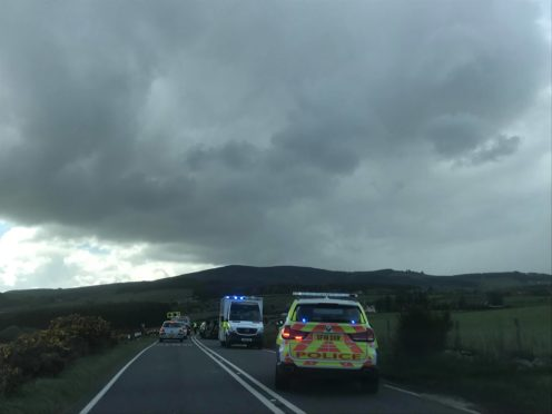 The scene on the A944