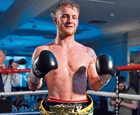 URN: CR0008828  Doubletree by Hilton, Aberdeen Treetops.  Pictured is Billy Stuart after winning his bout.   Picture by Scott Baxter    04/05/2019