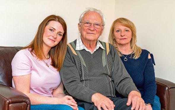 L- R - Natalea Gardener, her grandfather, Bernard Brown and mother, Ruth Downie.