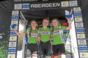The winners on the podium from the Under-16s girls support race during the Tour Series, Round Three, in Aberdeen.  Picture 16/05/2019 by Kath Flannery