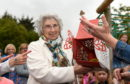 Peggy Paterson, the oldest former pupil in attendance, helped to release the butterflies