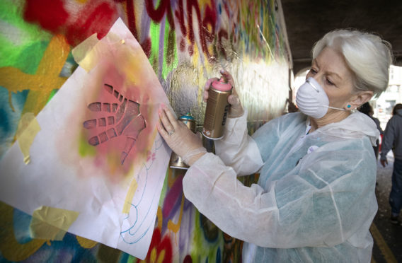 Maggie Wilcockson, aged 70, one of the 'Graffiti Grannies' that took part in an over-65s street-art workshop at this year's Nuart Aberdeen Festival.