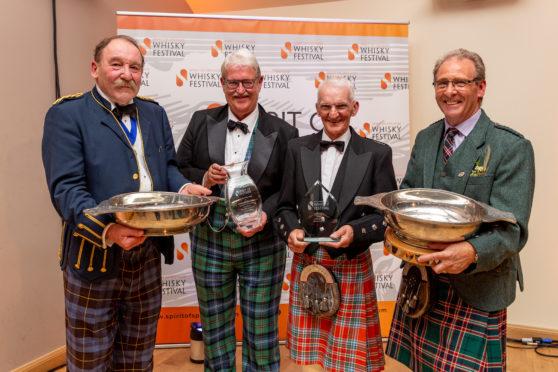 Spirit of Speyside Whisky Festival Ambassador award winners (left to right) Charles MacLean, Michael Urquhart, Dennis McBain and Ian Millar.