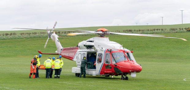 The coastguard helicopter from Inverness was scrambled to the scene.