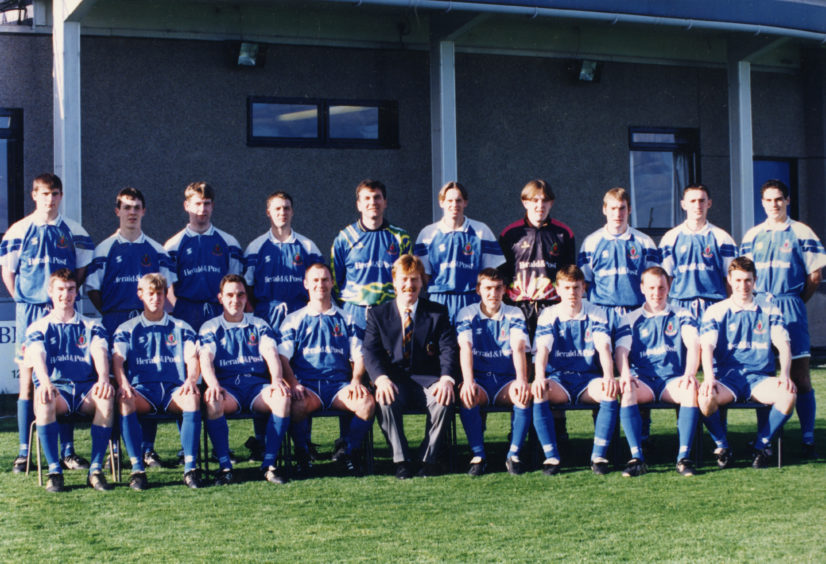 Cove Rangers FC: Back (from left) - Derek Craigie, Ryan Pressley, Mike Smart, Gary Thow, Raymond Charles, Ritchie Clark, Nicky Christie, Tommy Wilson, Paul Lefevre, Murray Ritchie. Front - Darren Nicol, Colin MacRonald, David Whyte, Mike Megginson, Dave Cormie (manager), Graeme Park, Mike Beattie, Alan Leslie, Kerr Gibson. Picture taken in 1996.