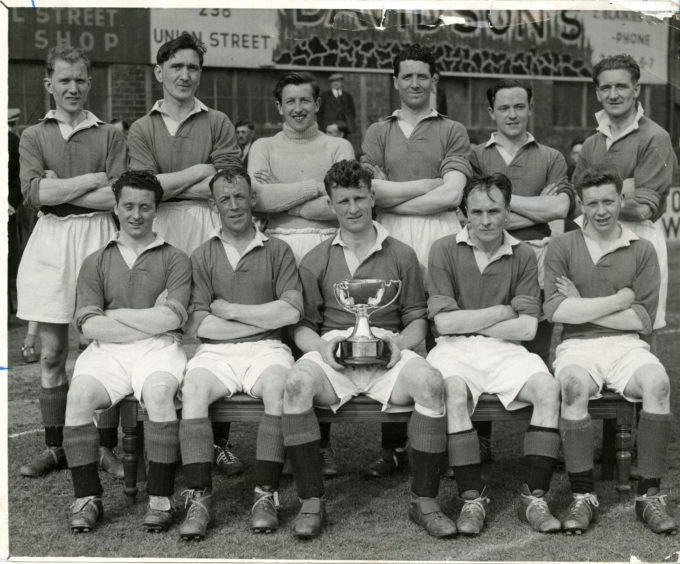 """Cove Rangers, winners of the Aberdeen FC Trophy 1955-56. Back row: Doug Smith, Fred Barnett, Forsyth, Kenny Campbell, Ian Cameron, Taylor. Front row: Billy McGrath, John Massie, Jimmy Stuart, Henry Davis, Will."""" Picture taken 6 May 1956."""