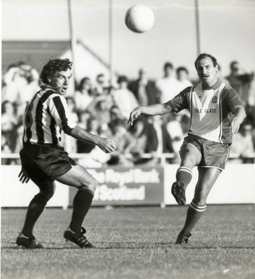 """Jim Blacklaw gets the ball across for Cove, with Fraserburgh's Duncan looking on."""" Final score Cove Rangers 3 - Fraserburgh 1. Picture taken 11 August 1986."""