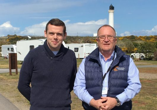 Douglas Ross and Mike Clappison, manager of Silver Sands