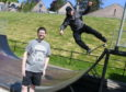 The Banchory Skatepark Group are hoping to make the skateboard park in Banchory bigger and are seeing the Marr area committee to help with the project. Pictured are Russ Crichton chairman of the group using the ramp and Bruce Skinner a committee member Pic by Chris Sumner 19/5/18