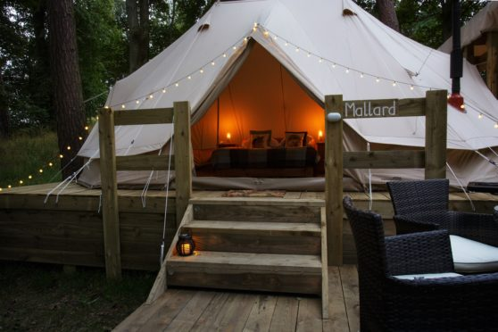 Dundas Castle offers 10 luxury tents, each with the loch in sight